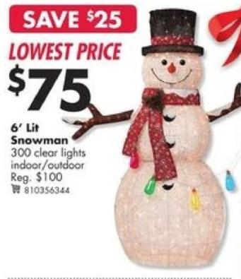 Big Lots Black Friday: 6' Lit Snowman for $75.00