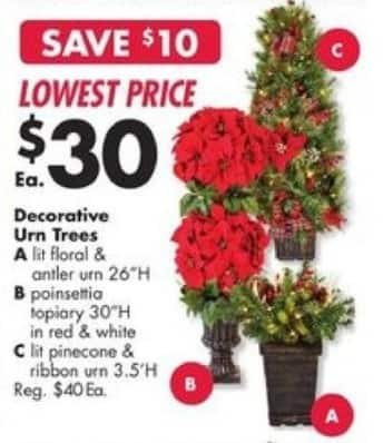 Big Lots Black Friday: Decorative Lit Pinecone & Ribbon Urn Trees for $30.00