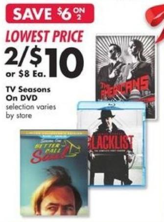 Big Lots Black Friday: (2) TV Seasons On DVD for $10.00