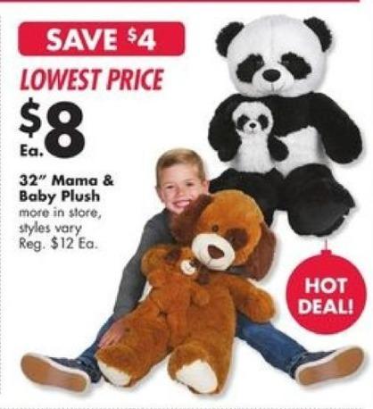Big Lots Black Friday: 32'' Mama & Baby Plush for $8.00