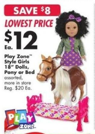 Big Lots Black Friday: Play Zone Style Girls 18'' Bed for $12.00