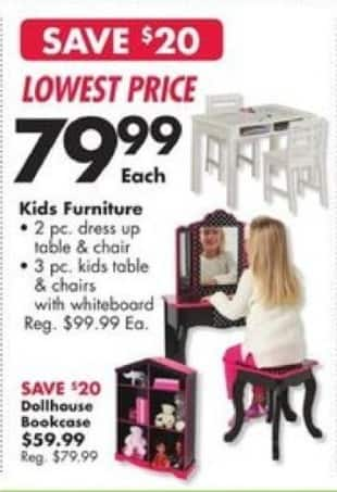 Big Lots Black Friday: Kids Furniture 2 Pc. Dress Up Table for $79.99