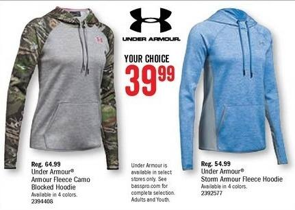 Bass Pro Shops Black Friday: Under Armour Storm Armour Fleece Hoodie for Ladies for $39.99