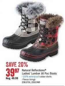 Bass Pro Shops Black Friday: Natural Reflections Lumber Jill Insulated Pac Boots for $39.97