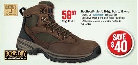 Bass Pro Shops Black Friday: RedHead Men's Bone-Dry Ridge Pointe Hiker Hiking Boots for $59.97