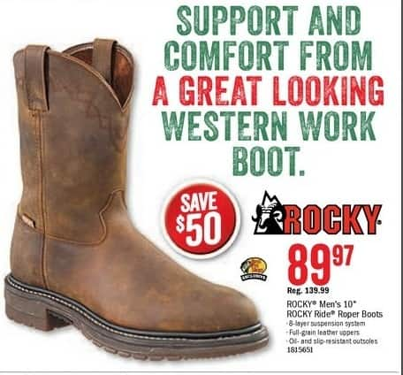 Bass Pro Shops Black Friday: ROCKY Men's Ride Round Toe Roper Boots for $89.97