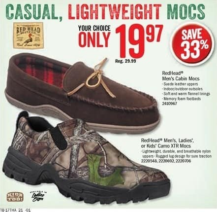 Bass Pro Shops Black Friday: RedHead Mens' Cabin Moc II Slippers for $19.97