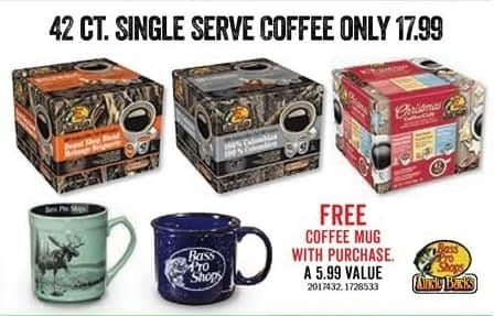 Bass Pro Shops Black Friday: 42-ct. Single Serve Coffee + FREE Coffee Mug with Pruchase for $17.99