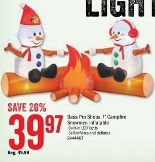 Bass Pro Shops Black Friday: Bass Pro Shops 7-ft. Campfire Snowmen Inflatable for $39.97