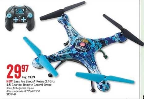 Bass Pro Shops Black Friday: Bass Pro Shops Rogue 2.4GHz 4.5-Channel Remote Control Drone for $29.97