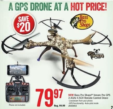 Bass Pro Shops Black Friday: Bass Pro Shops Venom Pro GPS Remote Control Drone for $79.97