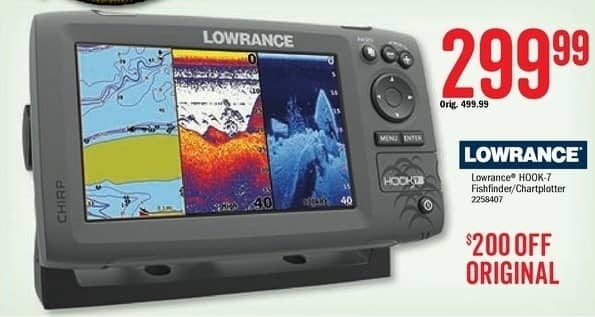 Bass Pro Shops Black Friday: Lowrance Hook-7 Fishfinder Chartplotter for $299.99