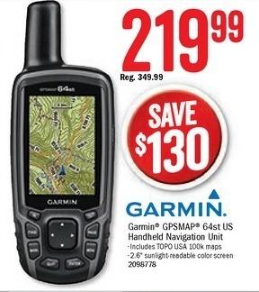 Bass Pro Shops Black Friday: Garmin GPSMAP 64st US Handheld Navigation Unit for $219.99