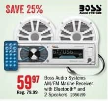Bass Pro Shops Black Friday: Boss Audio Systems AM/FM Marine Receiver w/ Bluetooth and 2 Speakers for $59.97