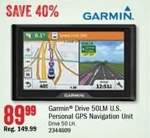 Bass Pro Shops Black Friday: Garmin Drive 50LM U.S. Personal GPS Navigation Unit for $89.99