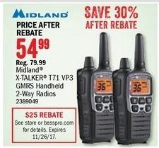 Bass Pro Shops Black Friday: Midland X-Talker T71 VP3 GMRS Handheld 2-Way Radios for $54.99