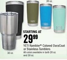 Bass Pro Shops Black Friday: Yeti Rambler Colored Stainless Tumbler for $29.99
