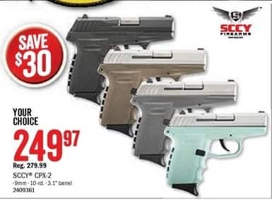Bass Pro Shops Black Friday: SCCY CPX-2 9mm 10-rd. 3.1-in. Barrel Handgun for $249.97