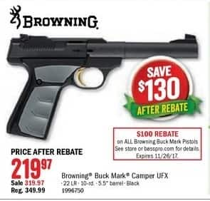 Bass Pro Shops Black Friday: Browning Buck Mark Camper UFX 22 LR 10-Rd. for $219.97 after $100.00 rebate