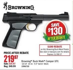 Bass Pro Shops Black Friday: Browning Buck Mark Camper UFX 22 LR 10-Rd. for $219.97 after $100.00 rebate