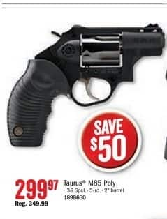 Bass Pro Shops Black Friday: Taurus Model 85 Poly .38 Spcl. 5-Rd. 2'' Barrel for $299.97