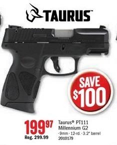 Bass Pro Shops Black Friday: Taurus Millennium G2 Semi-Auto Pistol for $199.97