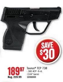 Bass Pro Shops Black Friday: Taurus TCP 738 Semi-Auto Pistol for $189.97