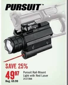 Bass Pro Shops Black Friday: Pursuit Rail-Mount Firearm Light w/ Red Laser for $49.97