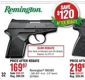 Bass Pro Shops Black Friday: Remington RM380 Semi-Auto Pistol for $169.97 after $100.00 rebate