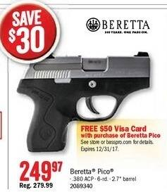 Bass Pro Shops Black Friday: Beretta Pico Pistol + FREE $50 Visa Card w/ Purchase Of Beretta Pico for $249.97