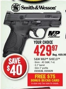 Bass Pro Shops Black Friday: S&W M&P Shield Semi-Auto Pistol + $75 Bonus Bucks Card for $429.97