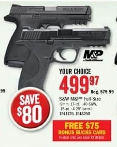 Bass Pro Shops Black Friday: S&W M&P 40 Semi-Auto Pistol + $75 Bonus Bucks Card for $499.97