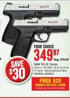 Bass Pro Shops Black Friday: S&W SD-VE Series 9mm Semi-Auto Pistol + $25 Bonus Bucks Card for $349.97