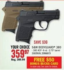 Bass Pro Shops Black Friday: S&W M&P Bodyguard 380 Semi-Auto Pistol + $50 Bomus Bucks Card for $359.97