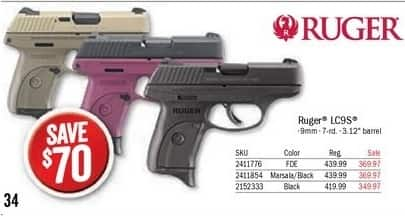 Bass Pro Shops Black Friday: Ruger LC9s Semi-Auto Pistol FDE for $369.97