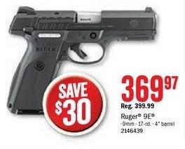 Bass Pro Shops Black Friday: Ruger 9E Semi-Auto Pistol for $369.97