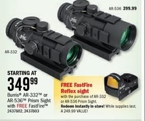 Bass Pro Shops Black Friday: Burris AR-536 Prism Sight + FREE FastFire Reflex Sight for $349.99