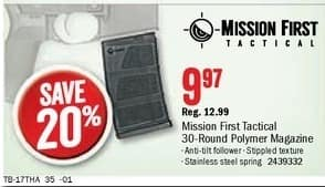 Bass Pro Shops Black Friday: Mission First Tactical 30-Round Polymer Magazine for $9.97