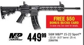 Bass Pro Shops Black Friday: S&W M&P 15-22 Sport Rimfire Rifle + $50 Bonus Bucks for $449.99