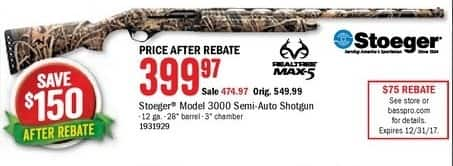 Bass Pro Shops Black Friday: Stoeger Model 3000 Semi-Auto Shotgun for $399.97 after $75.00 rebate