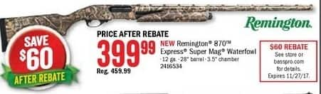 Bass Pro Shops Black Friday: Remington 870 Express Super Mag Waterfowl Shotgun for $399.99 after $60.00 rebate