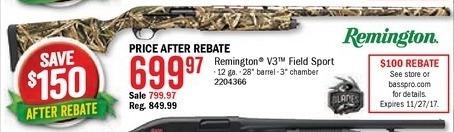 Bass Pro Shops Black Friday: Remington V3 Field Sport for $699.97 after $100.00 rebate