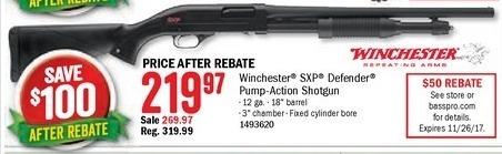 Bass Pro Shops Black Friday: Winchester SXP Defender Pump-Action Shotgun for $219.97 after $50.00 rebate