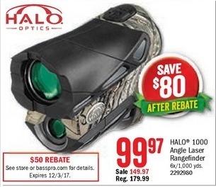 Bass Pro Shops Black Friday: Halo 1000 Angle Laser Rangefinder for $99.97 after $50.00 rebate