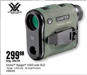 Bass Pro Shops Black Friday: Vortex Ranger 1000 Rangefinder w/ HCD for $299.99