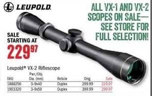 Bass Pro Shops Black Friday: Leupold VX-2 3-9x40 Rifle Scope for $229.97