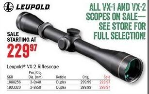 Bass Pro Shops Black Friday: Leupold VX-2 3-9x50 Rifle Scope for $229.97