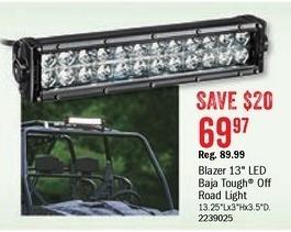 Bass Pro Shops Black Friday: Blazer 13'' LED Baja Tough Off Road Light Bar for $69.97