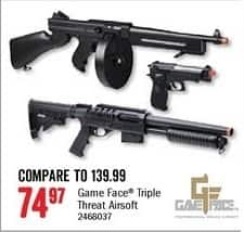 Bass Pro Shops Black Friday: Game Face Triple Threat Airsoft for $74.97