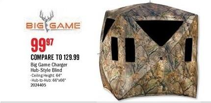 Bass Pro Shops Black Friday: Big Game Charger Hub-Style Blind for $99.97